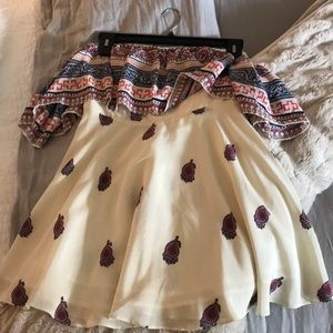 Short off the shoulder silky dress